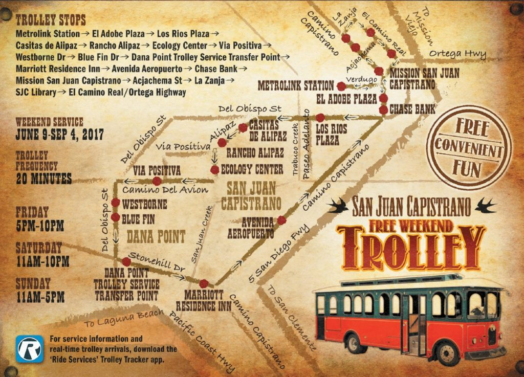 San Juan Capistrano Trolley Map 2017